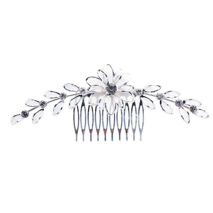 Bridal Wedding Jewelry Crystal Rhinestone Mesh Floral Linear SH Drape Hair Comb