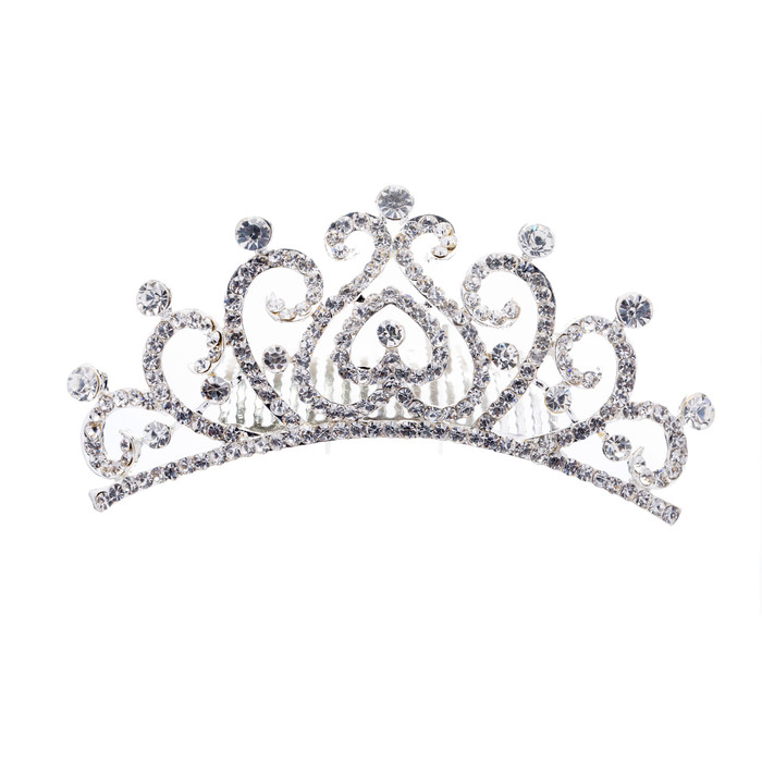 Bridal Wedding Jewelry Crystal Rhinestone Vintage Swirl Hair Comb Tiara Silver