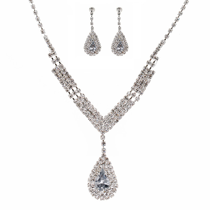 Bridal Wedding Jewelry Set Crystal Rhinestone V Teardrop Necklace Silver CL