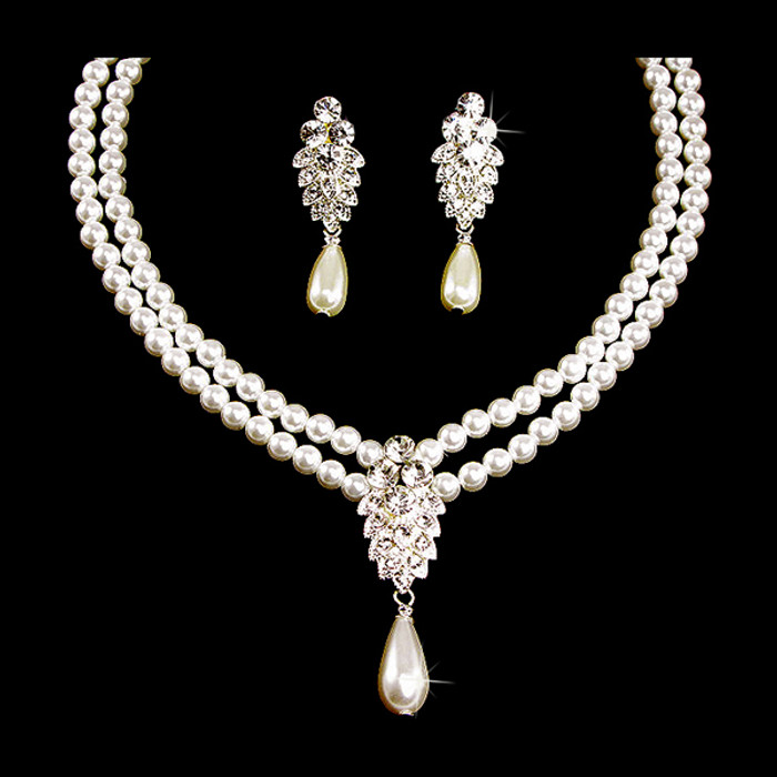 Bridal Wedding Jewelry Set Crystal 2 Strand Pearl Sophisticate Necklace
