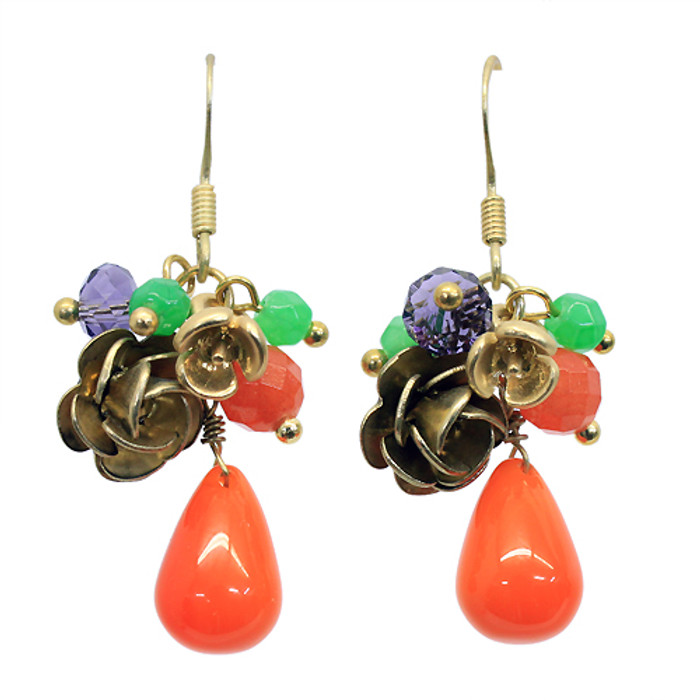 Floral Charm Tear Drop Dangle Handmade Earring Orange