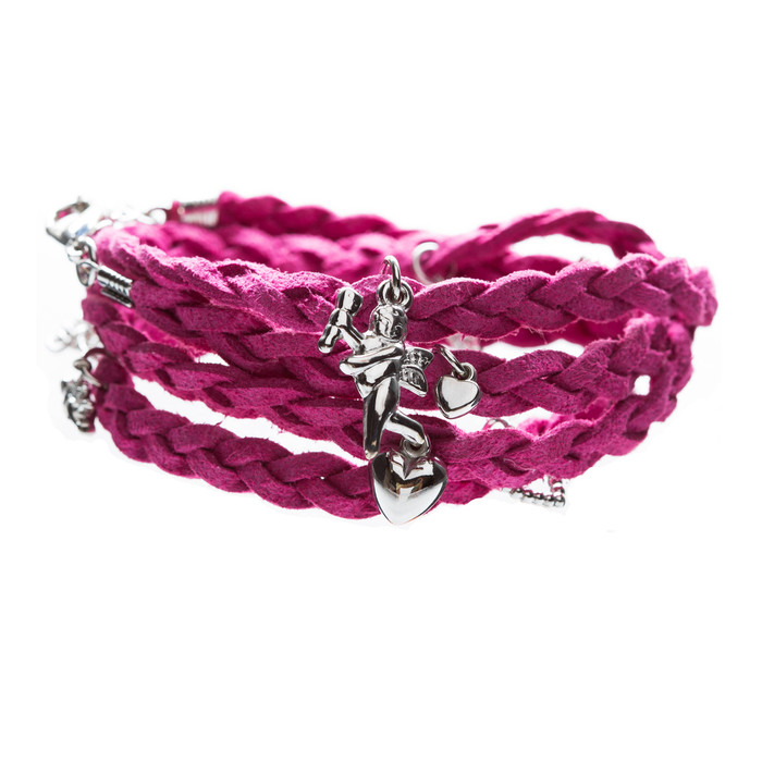 Beautiful Braided Suede Faux Leather Dangle Charms Fashion Wrap Bracelet Pink