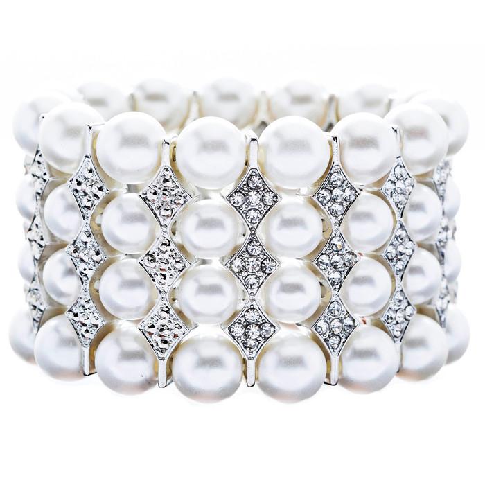 Bridal Wedding Jewelry Stunning 4 Rows Pearl Crystal Stretch Bracelet Silver