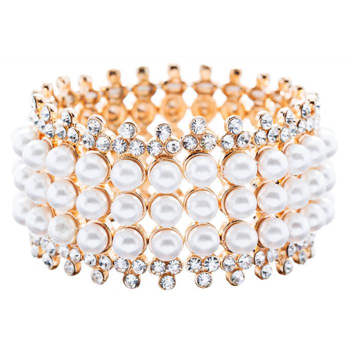 Bridal Wedding Jewelry Stunning 3 Rows Pearl Crystal Stretch Fashion Bracelet Go