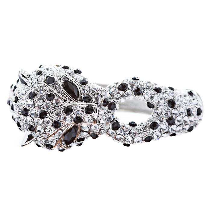 Fashion Jewelry Crystal Rhinestone Gorgeous Leopard Bracelet Silver