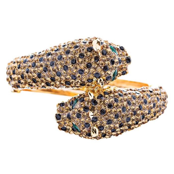 Fashion Jewelry Crystal Rhinestone Magnificent Leopard Bracelet Gold