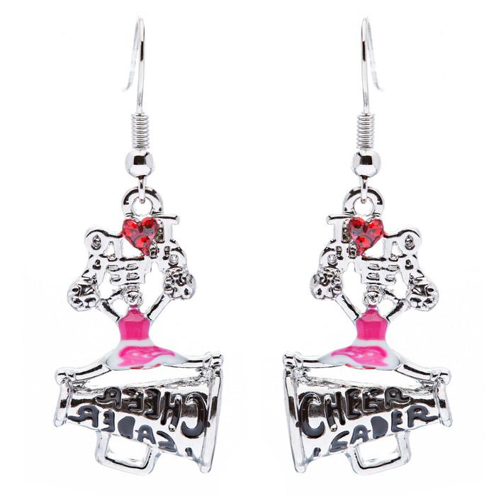 Sport Jewelry I Love Cheerleader Crystal Rhinestone Drop Dangle Earrings Pink