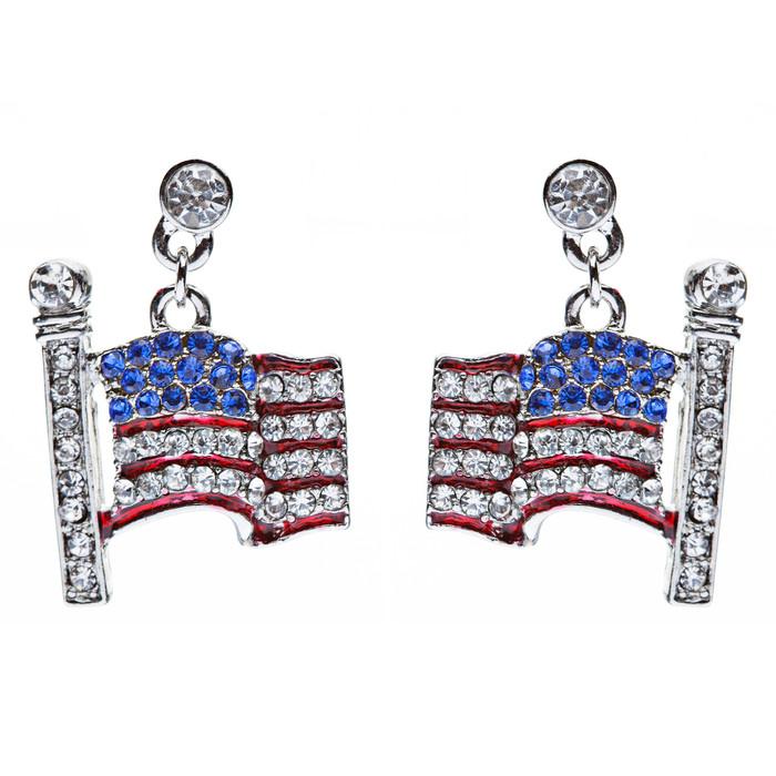 Patriotic Jewelry Flying American Flag 3D Crystal Rhinestone Earrings Silver