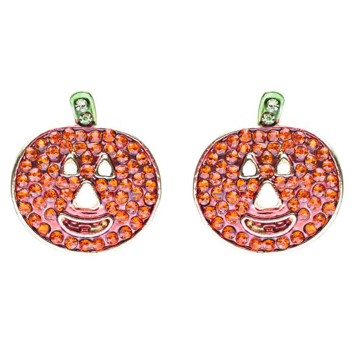 Halloween Costume Jewelry Crystal Rhinestone Happy Pumpkin Stud Earrings Orange