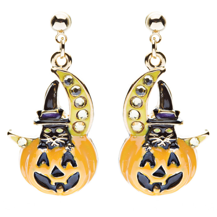Halloween Costume Jewelry Crystal Black Cat Moon Happy Pumpkin Dangle Earrings