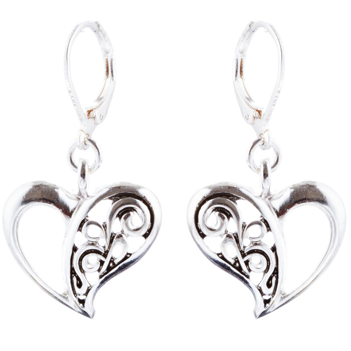 Abstract Open Heart Drop Dangle Earring Antique Silver