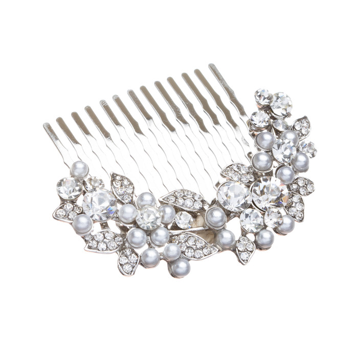 Bridal Wedding Jewelry Crystal Rhinestone Pearl Floral Hair Comb Pin Silver