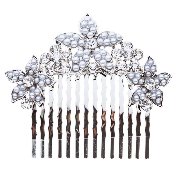Bridal Wedding Jewelry Crystal Rhinestone Pearl Multi Flowers Hair Comb Silver