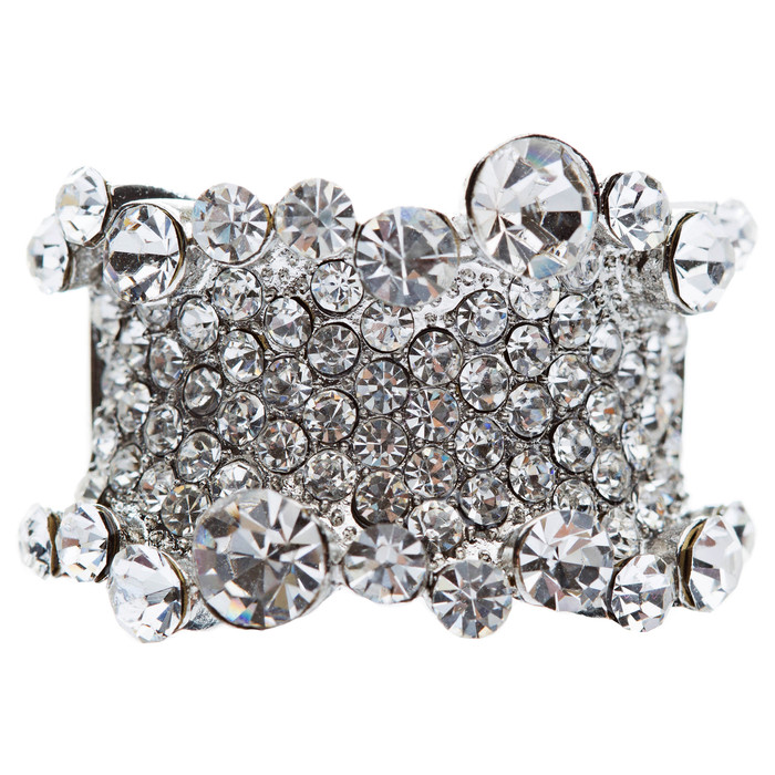Bling Crystal Rhinestone Stretch Adjustable Fashion Ring Silver Tone Clear