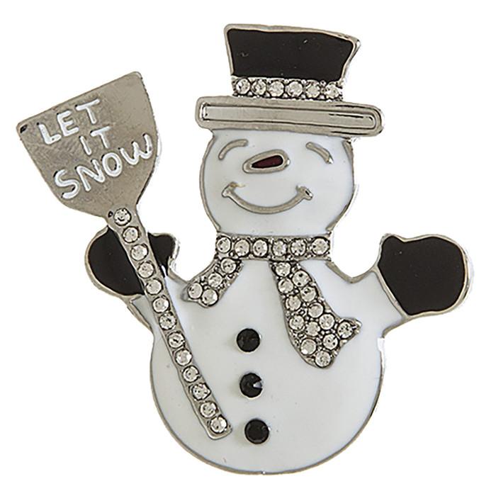 Christmas Jewelry Holiday Crystal Rhinestone Snowman Fashion Brooch BH218 SV