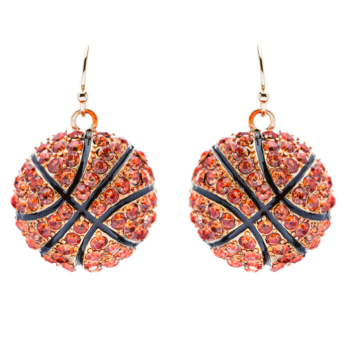 Sport Basketball Crystal Rhinestone 20mm Drop Dangle Fashion Earrings Orange