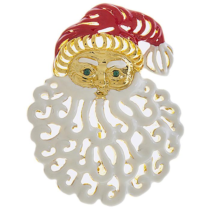 Christmas Jewelry Holiday Jolly Santa Claus Charm Fashion Brooch BH220 GD White