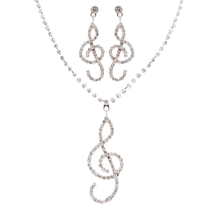 Beautiful Dazzling Music Charm Crystal Rhinestone Necklace Set J461 Silver