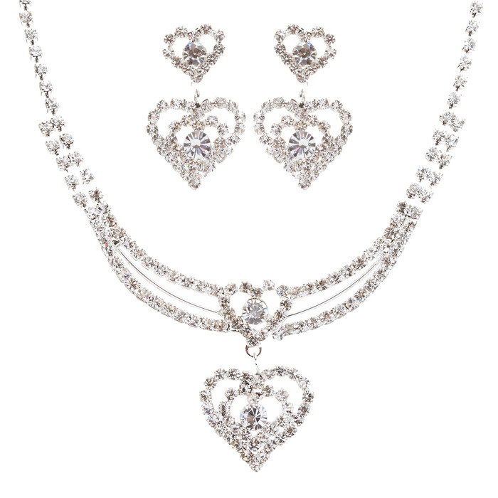 Bridal Wedding Jewelry Prom Heart Crystal Rhinestone Necklace Set J463 SV