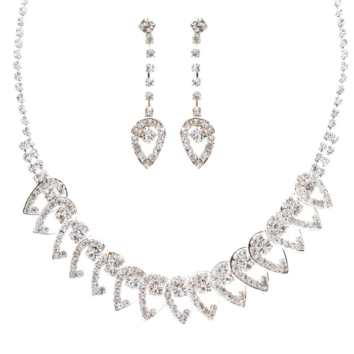 Bridal Wedding Jewelry Set Prom Crystal Rhinestone Dazzling Necklace J464 SV