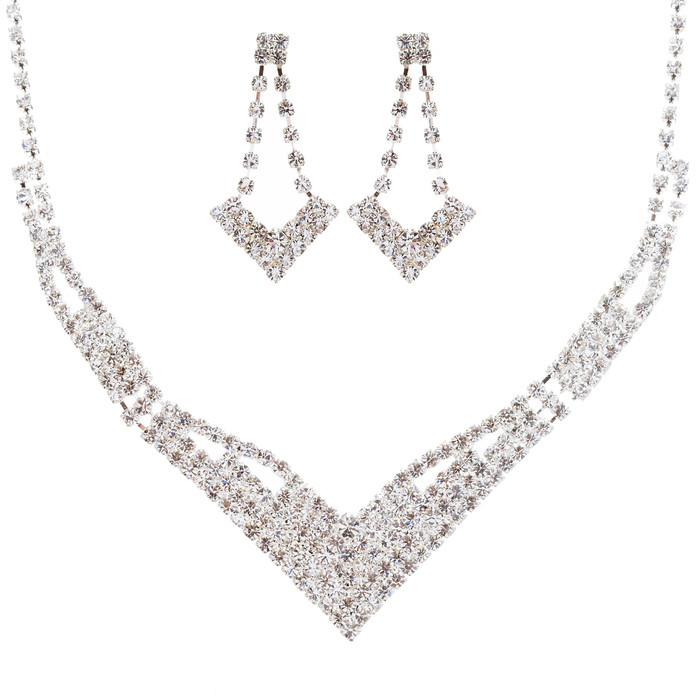 Bridal Wedding Jewelry Set Prom Crystal Rhinestone Modern Necklace J465 SV