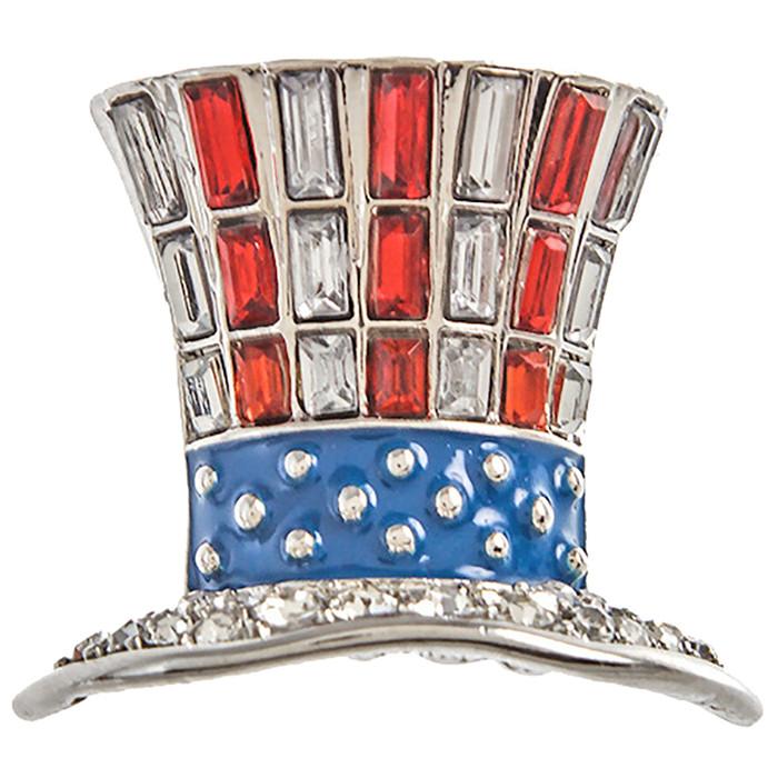 Patriotic Jewelry American Flag Top Hat Crystal harm Brooch Pin BH226 Silver