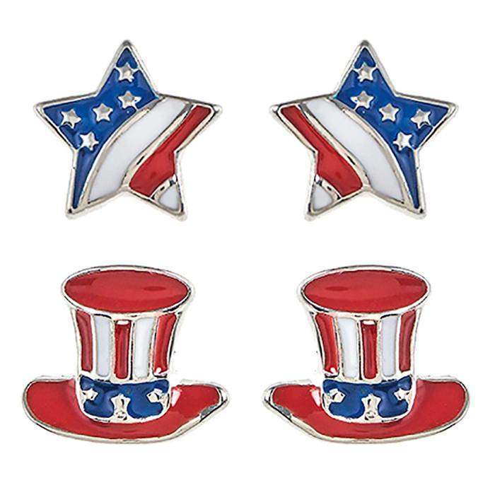 Patriotic Jewelry American Flag Star Hear 2 Pairs Fashion Earrings E1212 Silver