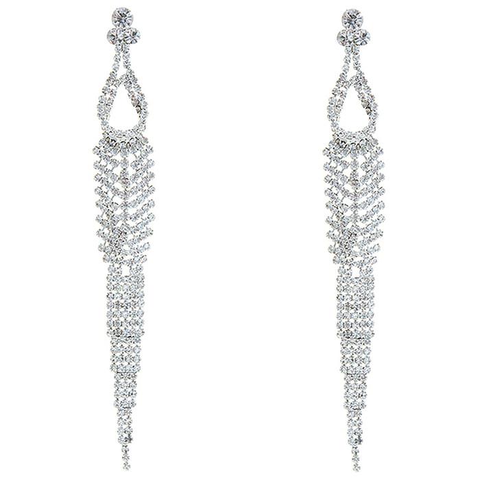 Bridal Wedding Prom Jewelry Chic Crystal Rhinestone Long Dangle Earrings E1218