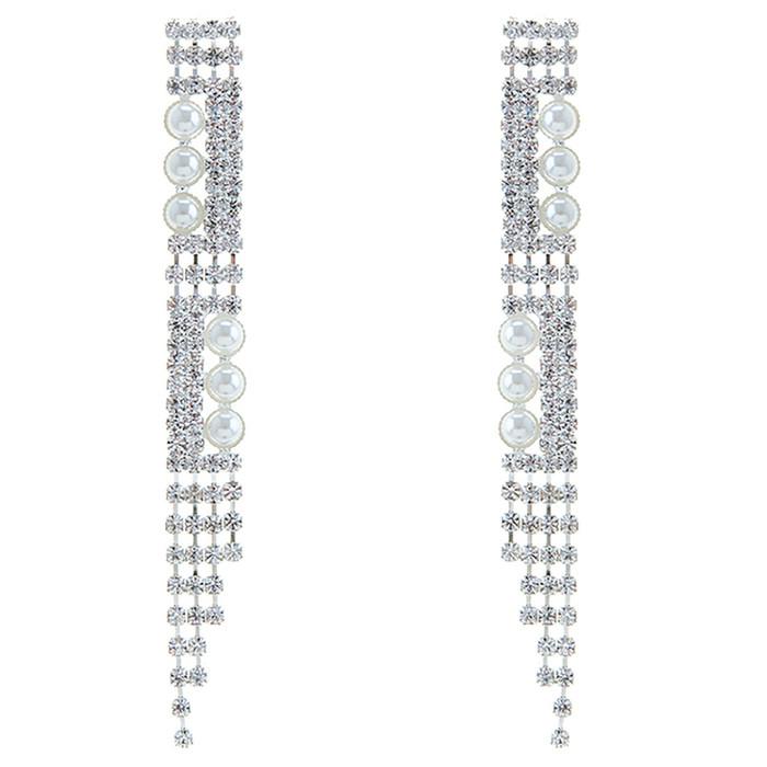 Bridal Wedding Prom Jewelry Elegant Crystal Pearl Long Dangle Earrings E1219
