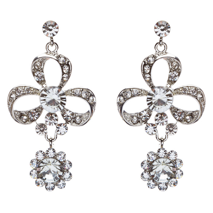 Bridal Wedding Jewelry Crystal Rhinestone Adorable Dangle Earrings Silver E433