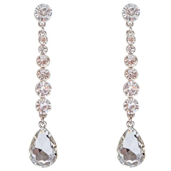 Bridal Wedding Jewelry Crystal Rhinestone Teardrop Linear Elegant Earring E681SV
