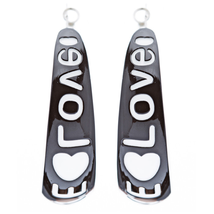 Woman Fashion Lucite Hoop Earrings Love Heart Black
