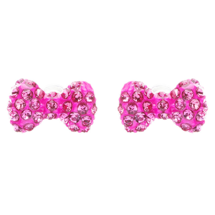 Adorable Mini Bow Tie Ribbon Sweet Fashion Stud Style Earrings E872 Pink