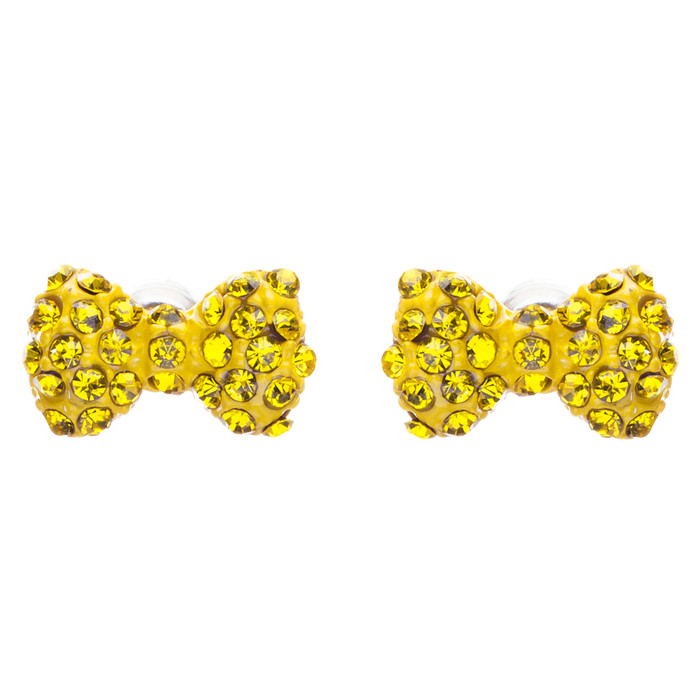 Adorable Mini Bow Tie Ribbon Sweet Fashion Stud Style Earrings E872 Yellow