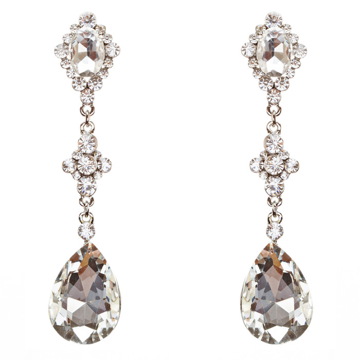 Bridal Wedding Jewelry Crystal Rhinestone Charming Tear Drop Earrings E705 SV