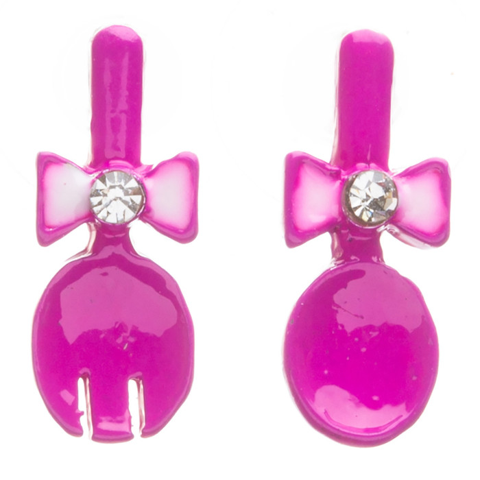 Funky Fashion Crystal Rhinestone Adorable Spoon And Fork Earrings E706 Pink