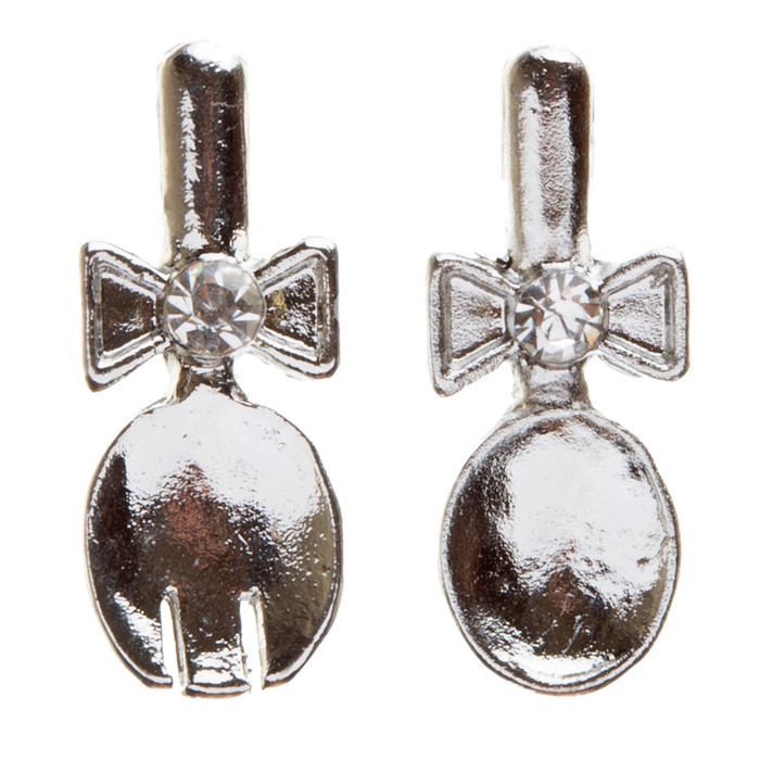 Funky Fashion Crystal Rhinestone Adorable Spoon And Fork Earrings E706 Silver