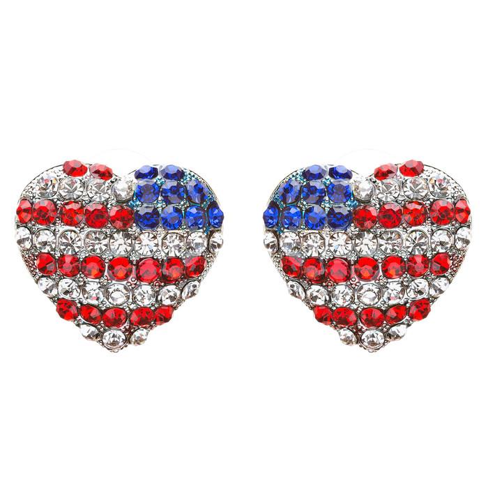 Patriotic Jewelry Crystal Rhinestone  Lovely Heart Shape Stud Earrings E708 SV