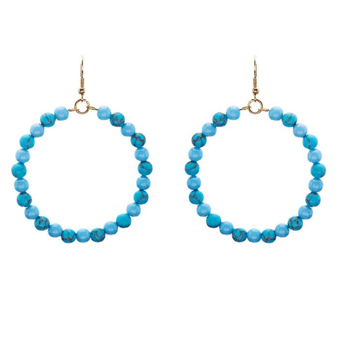 Woman Fashion Linear Drop Earrings Turquoise Stone Blue
