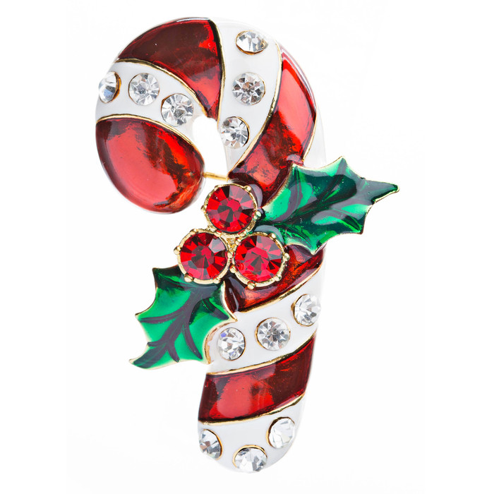 Christmas Jewelry Crystal Rhinestone Beautiful Sparkle Candy Cane Brooch BH65