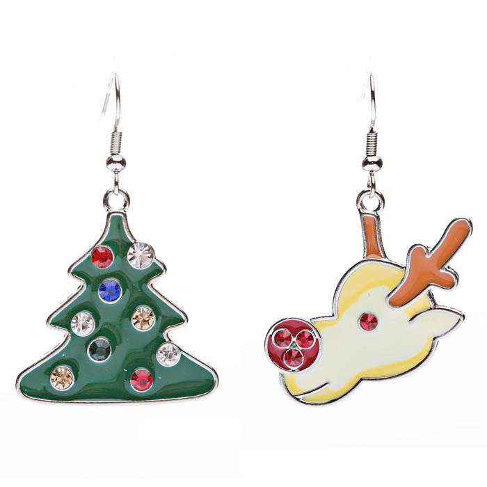 Christmas Jewelry Crystal Rhinestone Tree Reindeer Head Charms Earrings E640