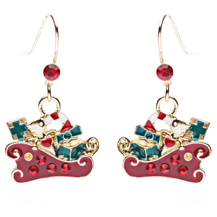 Christmas Jewelry Crystal Rhinestone Presents Gifts Sleigh Charm Earrings E641