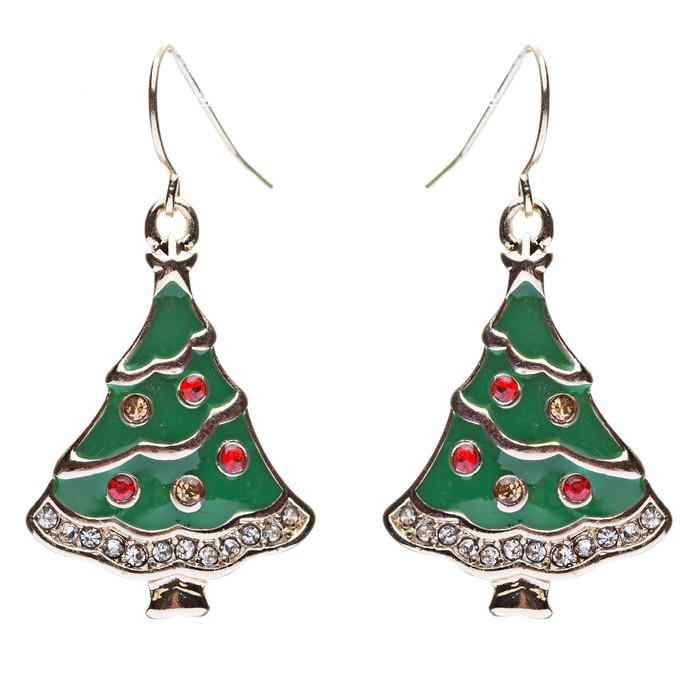 Christmas Jewelry Crystal Rhinestone Gorgeous Dazzle Tree Charm Earrings E643