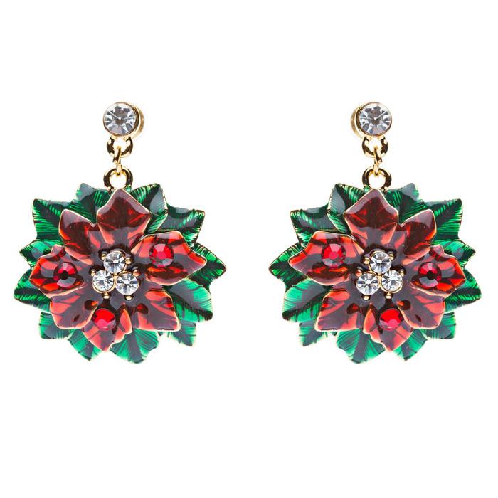 Christmas Jewelry Crystal Rhinestone Beautiful Mistletoe Charm Earrings E645