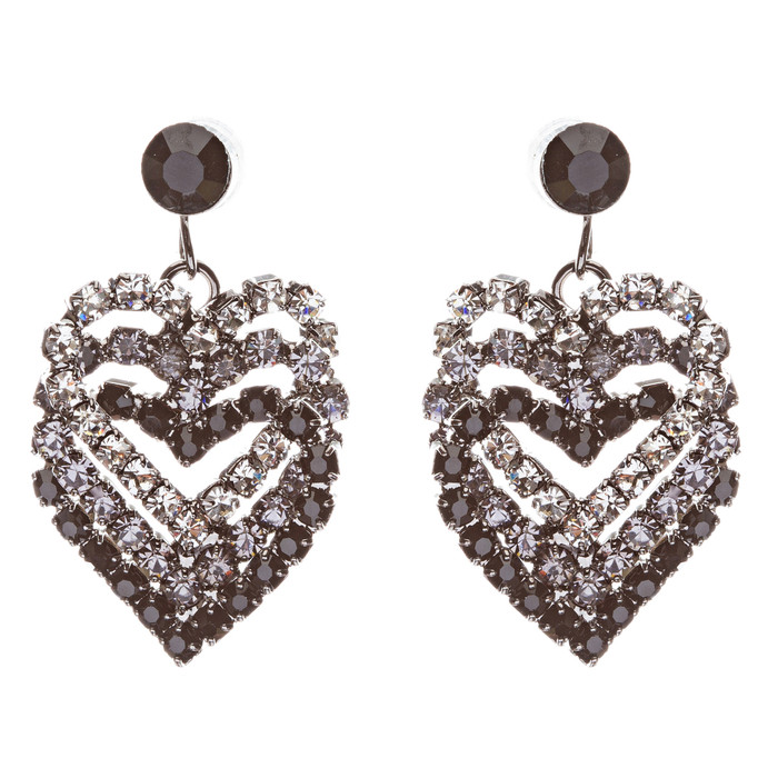 Valentines Jewelry Crystal Rhinestone Heart Charm Dangle Earrings E328 Black
