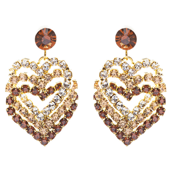 Valentines Jewelry Crystal Rhinestone Heart Charm Dangle Earrings E328 Gold