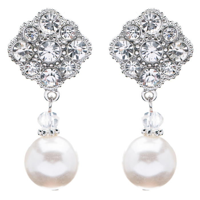 Bridal Wedding Jewelry Set Crystal Rhinestone Pearl Classic Dangle Earrings E610
