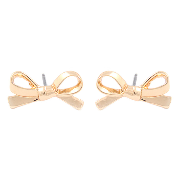 Cute Mini Bow Tie Ribbon Fashion Stud Post Earrings E615 Gold