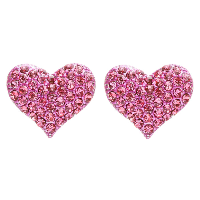 Lovely Sweet Beautiful Heart Shape Valentine's Stud Post Earrings E679 Fuchsia