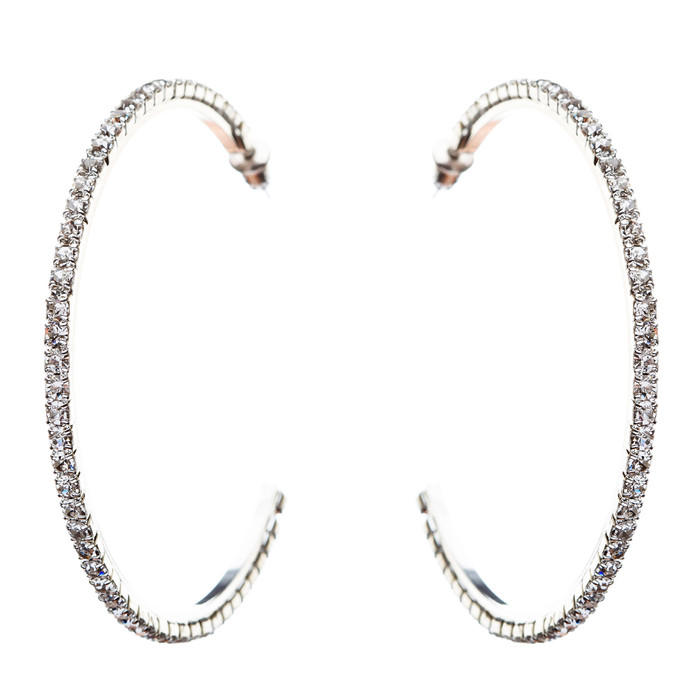Exquisite Sparkle Crystal Rhinestone Hoop Design Fashion Earrings E689